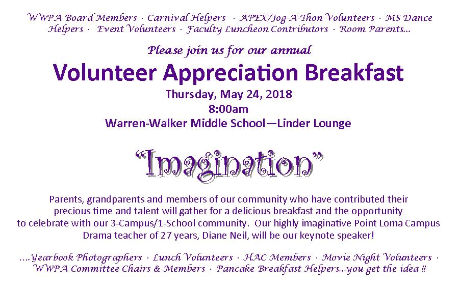 Warren Walker School Volunteer Breakfast Rsvp